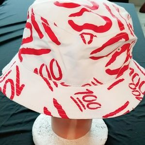 Red & white 100 hat